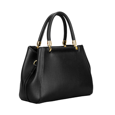Black leather women bag with gold fittings isolated on a white background.  Side view