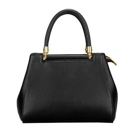 Black leather women bag with gold fittings isolated on a white background. Front view Stock fotó