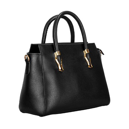 Black leather women bag with gold fittings isolated on a white background. Side view Stock fotó