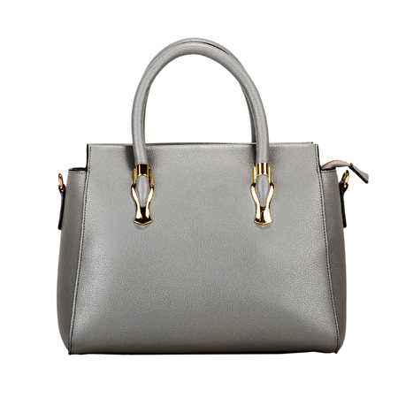 Gray leather women bag with gold fittings isolated on a white background. Front view Stock fotó