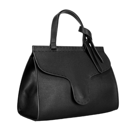 Black leather women bag isolated on a white background. Side view Stock fotó