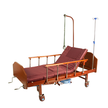 Medical brown metal semi-automatic bed on wheels with burgundy mattress isolated on white Stock fotó