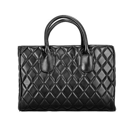 Black women bag with rhombus embossed. Front view, isolated on white
