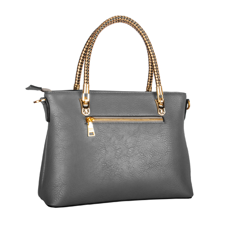 Gray womens leather bag with gold handles and fittings isolated on white
