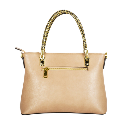 Light beige womens leather bag with gold handles and fittings isolated on white Stock fotó
