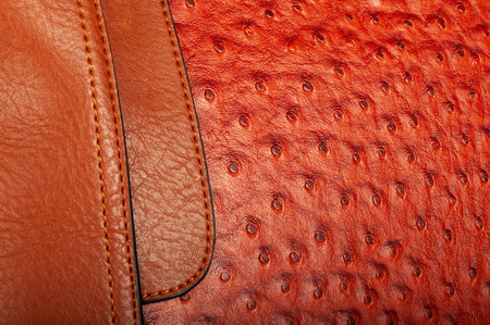 Stitched combination of two textures of imitation leather