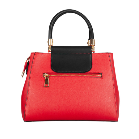 Red womens leather bag with black top isolated on white