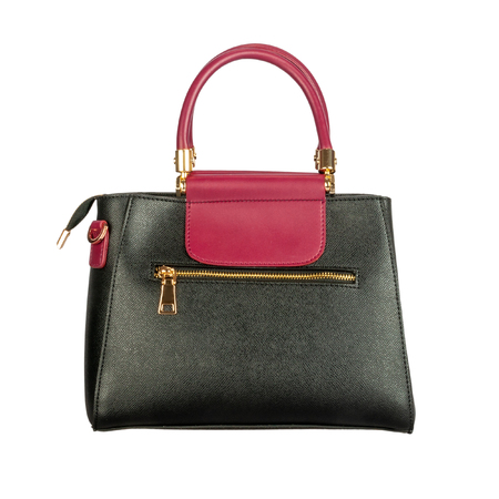 Black womens leather bag with burgundy top isolated on white