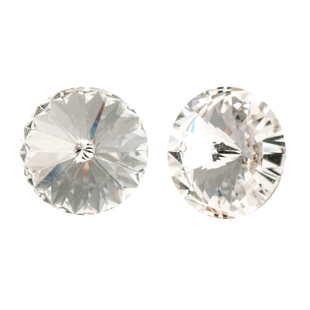 Large round white crystal rhinestones. Front and side view. Isolated on white. Stock fotó - 117033310
