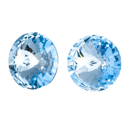 Large round blue crystal rhinestones. Front and side view. Isolated on white. Stock fotó