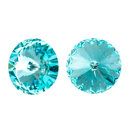 Large round green crystal rhinestones. Front and side view. Isolated on white. Stock fotó - 117033312
