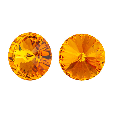 Large round orange crystal rhinestones. Front and side view. Isolated on white.