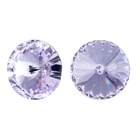 Large round purple crystal rhinestones. Front and side view. Isolated on white. Stock fotó - 117033315
