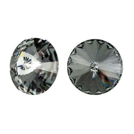 Large round black crystal rhinestones. Front and side view. Isolated on white. Stock fotó - 117033317