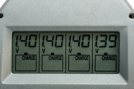 LCD display charger for batteries with volts and numbers