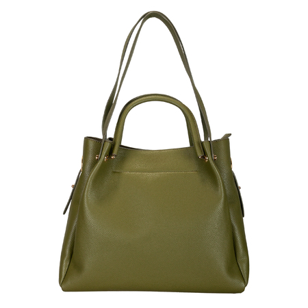Dark green women bag with long handles on a white background. Front view