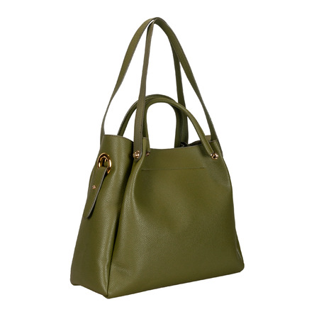 Dark green women bag with long handles on a white background. Side view
