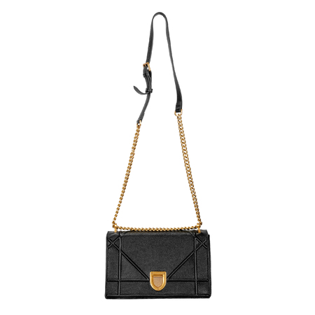 Black female small bag with a long gold chain on a white background. Front view