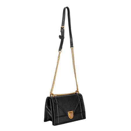 Black female small bag with a long gold chain on a white background. Side view Stock fotó