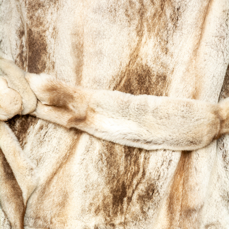 Texture natural spotted beige brown shiny fur with belt Stock fotó