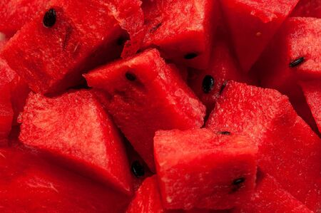 Red slices of fresh juicy fruit watermelon Banco de Imagens - 128617577