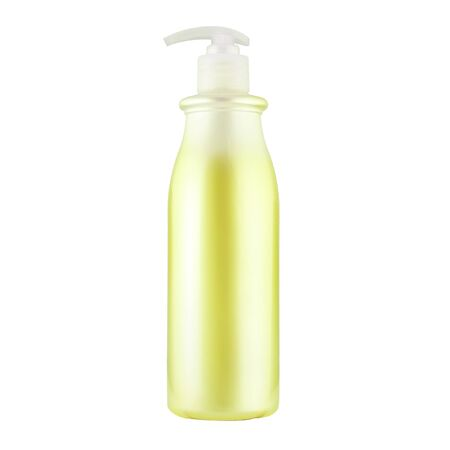 One cosmetic bottle with yellow liquid close up isolated on white background Stock fotó