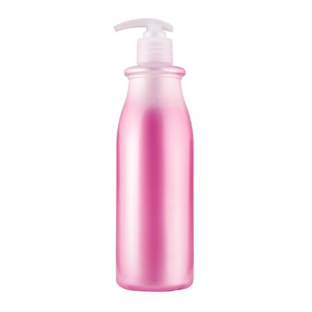 One cosmetic bottle with pink liquid close up isolated on white background