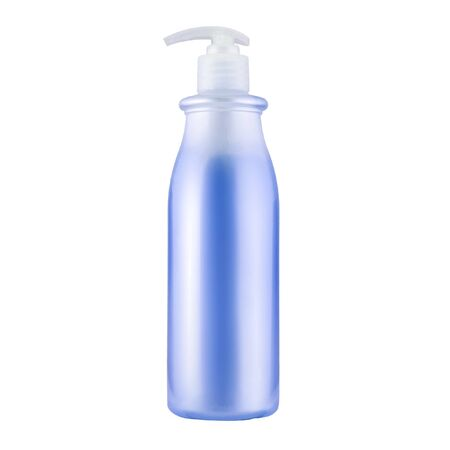 One cosmetic bottle with blue liquid close up isolated on white background Stock fotó