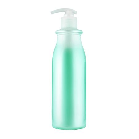 One cosmetic bottle with green liquid close up isolated on white background
