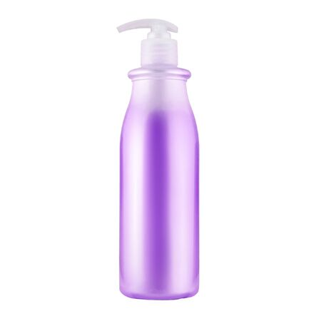 One cosmetic bottle with violet liquid close up isolated on white background Stock fotó