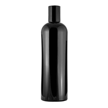 Black plastic glossy opaque bottle for cosmetics on a white background Stock fotó