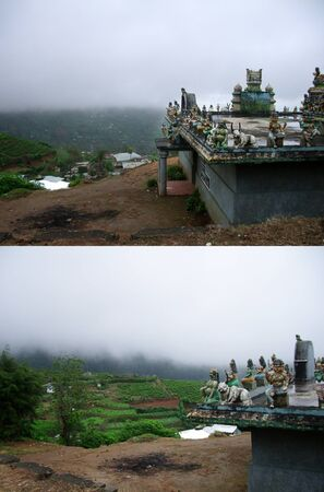 Ancient Indian Buddhist temple on tea plantations in the mountains. Collage of two photos Stock fotó