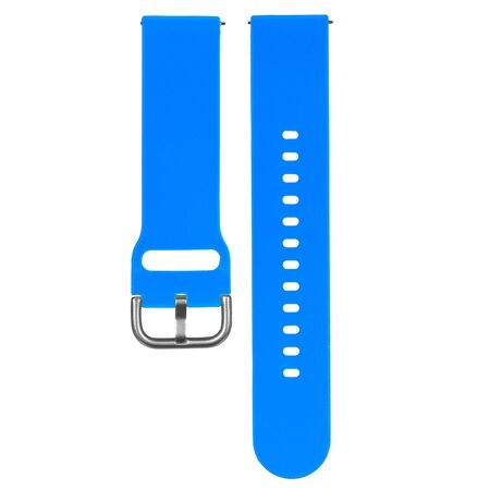 Blue silicone strap for sports watches and smart gadgets. One-color solid bracelet isolated on white background