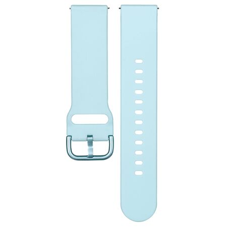 Light blue silicone strap for sports watches and smart gadgets. One-color solid bracelet isolated on white background