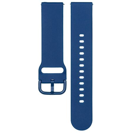 Dark blue silicone strap for sports watches and smart gadgets. One-color solid bracelet isolated on white background