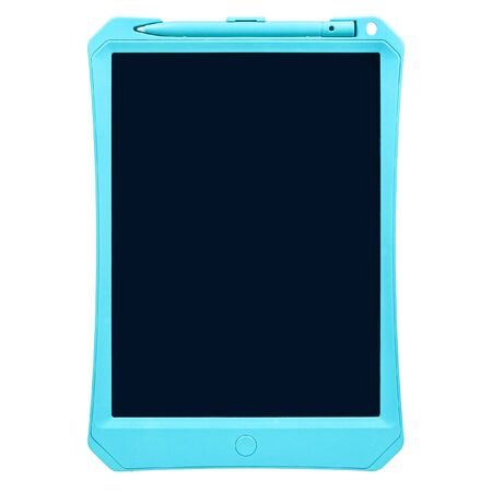 Children's graphic magnetic toy tablet for writing and drawing with a pen and a blank black screen isolated on white background Standard-Bild