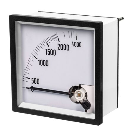 Analog ammeter or voltmeter with dial and arrow on a white background. Side view Stock Photo