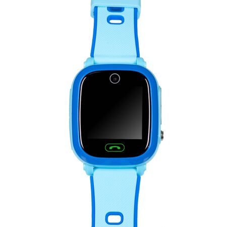 Smart watch for children in blue with a flat blank black screen for inscriptions, a call button, a video camera with a silicone strap isolated on white background. Front view