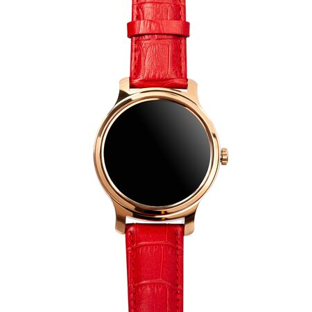Wireless smart watch in a round shiny gold case and a red leather strap isolated on white background. Front view