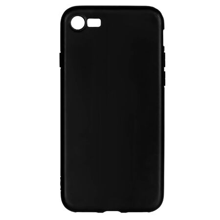 Black silicone case for smartphone or phone with cutouts for the camera. Back view isolated on white background