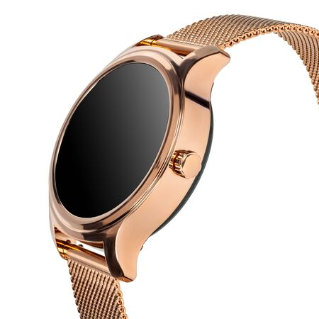 Wireless smart watch in a round shiny gold case and a metal strap on a white background. Three quarter view close up