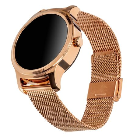 Wireless smart watch in a round shiny gold case and a metal strap on a white background. Three quarter view Reklamní fotografie