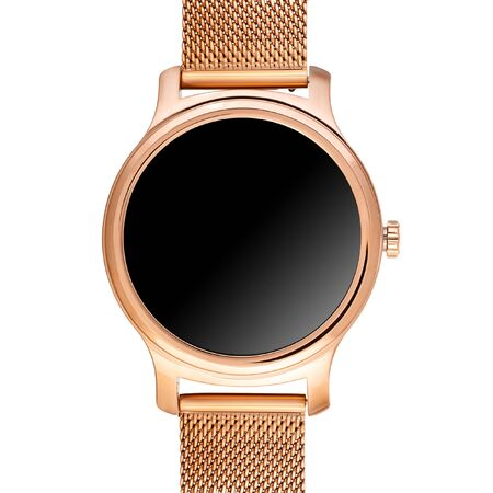 Wireless smart watch in a round shiny gold case and a metal strap on a white background. Front view