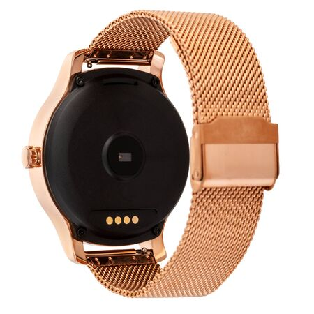 Wireless smart watch in a round shiny gold case and a metal strap on a white background. Back view Reklamní fotografie