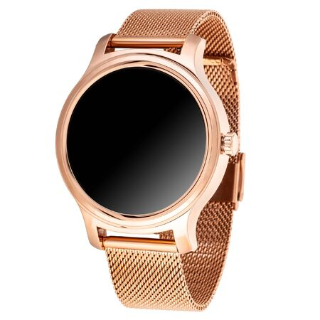 Wireless smart watch in a round shiny gold case and a metal strap on a white background Reklamní fotografie
