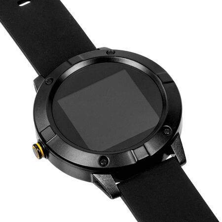 Wireless smart watch in a round matte black case on silicone strap on a white background. Diagonal view