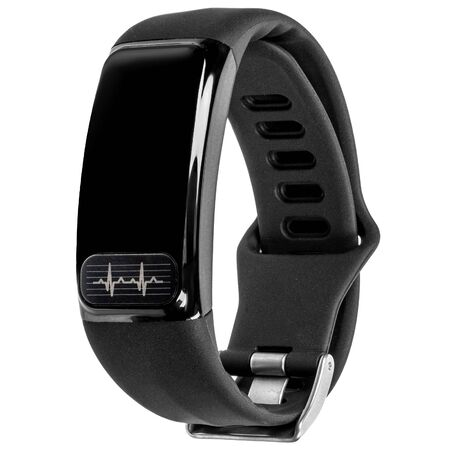 Smart fitness bracelet with pulse measurement, black silicone strap and blank screen or inscription hanging in the air isolated on a white background. Three quarter view