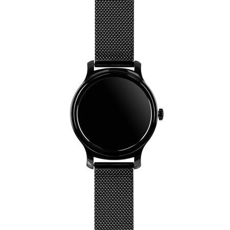 Wireless smart watch in a round glossy black case on a metal strap with a blank screen for a logo on a white background. Front view