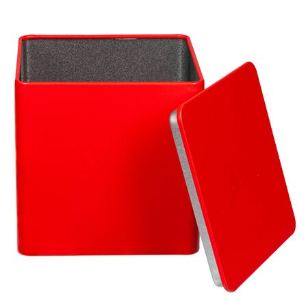 Red metal gift box with an open lid on a white background with empty sides and space for text Stock fotó