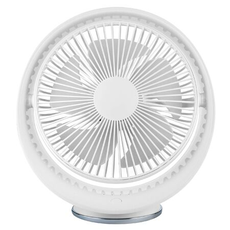 Large desktop fan with USB input isolated on a white background. Front view